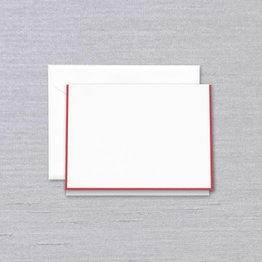 Crane Crane Pearl White Red Bordered Note