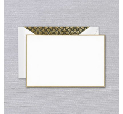 Crane Crane Pearl White Gold Bordered Card