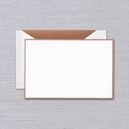 Crane Crane Pearl White Rose Gold Bordered Card