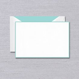 Crane Crane Pearl White Aqua Bordered Card