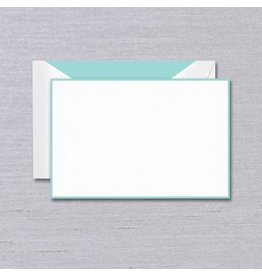 Crane Crane Pearl White Aqua Bordered Card
