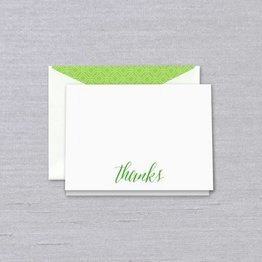 Crane Crane Pearl White Spring Green Thank You Note
