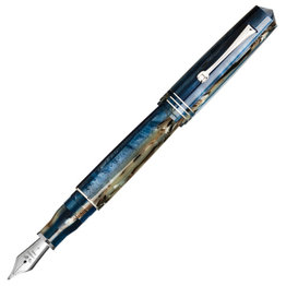 Leonardo Leonardo Momento Zero Grande Fountain Pen Dark Hawaii Rhodium Trim