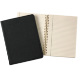 "Graphic Image Graphic Image Black Goatskin Leather 9"" Wire-O-Notebook"
