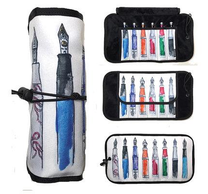 Rickshaw Deluxe 6-Pen Fountain Pens by Ricardo Pinto Pen Roll