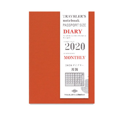 Traveler's Traveler's Notebook Passport Size Refill 2020 Monthly