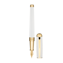 S. T. Dupont S.T. Dupont Line D'Atelier Medium Pearl White with Gold Trim Fountain Pen