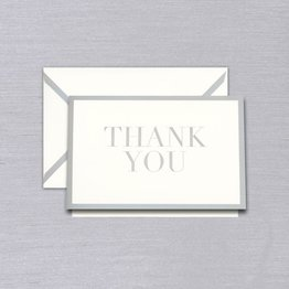 Vera Wang Silver Bordered Thank You Note