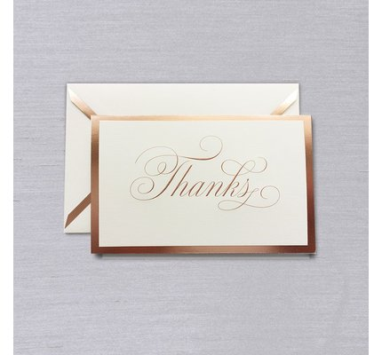 Vera Wang Vera Wang White Rose Gold Bordered Thank You Note