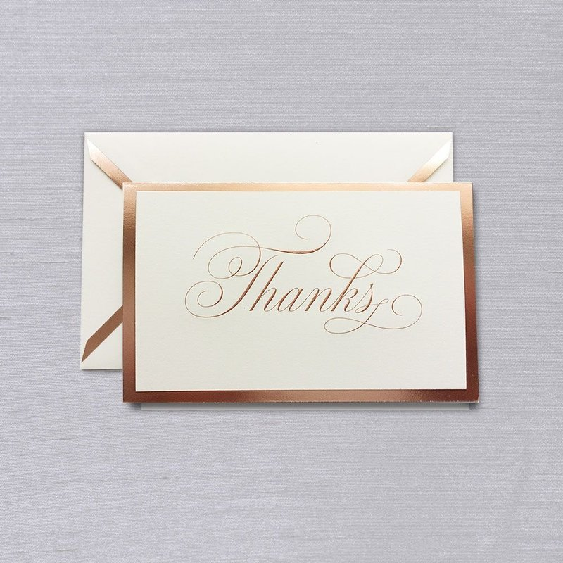 Vera Wang White Rose Gold Bordered Thank You Note