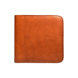 Aston Leather Zippered 6 Slot Pen Case Tan