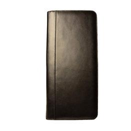 Aston Leather Zippered 40 Slot Pen Case Black