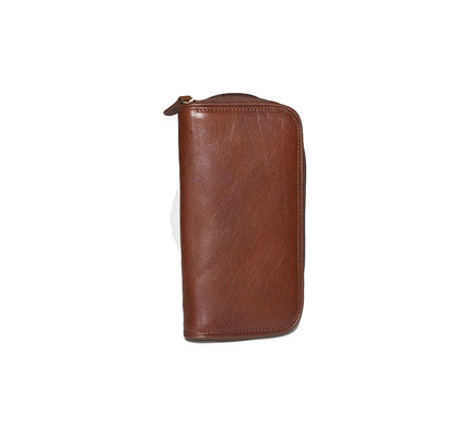 Aston Aston Leather Zippered Double Pen Case Brown
