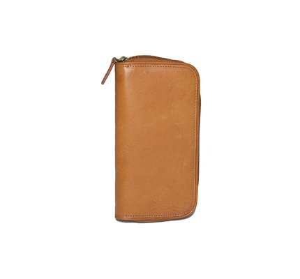 Aston Aston Leather Zippered Double Pen Case Tan