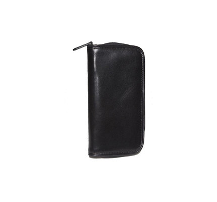 Aston Aston Leather Zippered Double Pen Case Black