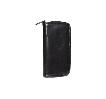 Aston Leather Zippered Double Pen Case Black