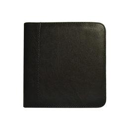 Aston Leather Zippered 6 Slot Pen Case Black
