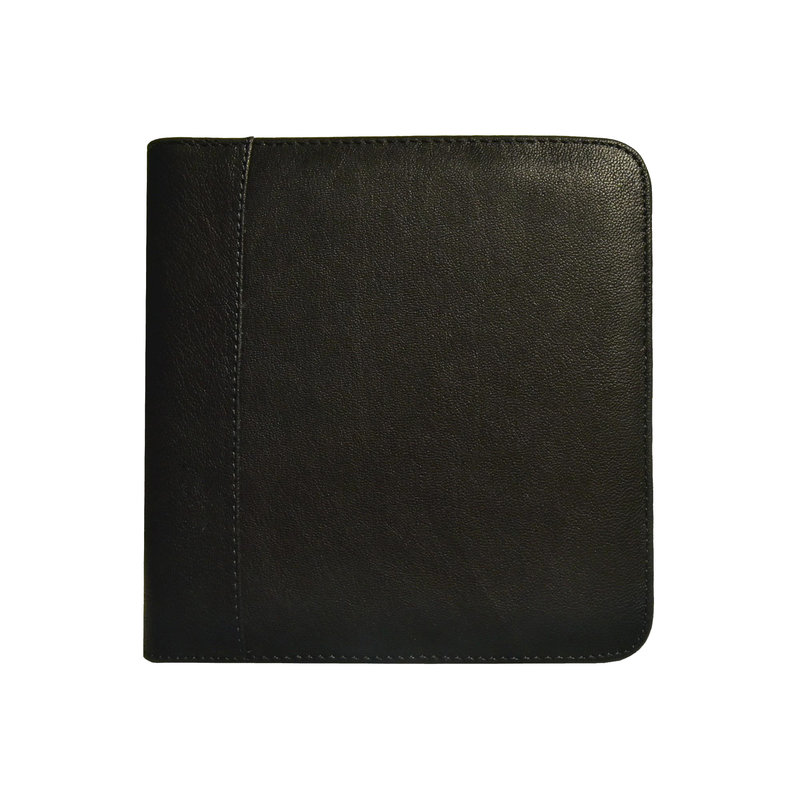Aston Aston Leather Zippered 6 Slot Pen Case Black