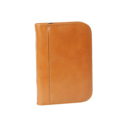 Aston Aston Leather Zippered 10 Slot Pen Case Tan