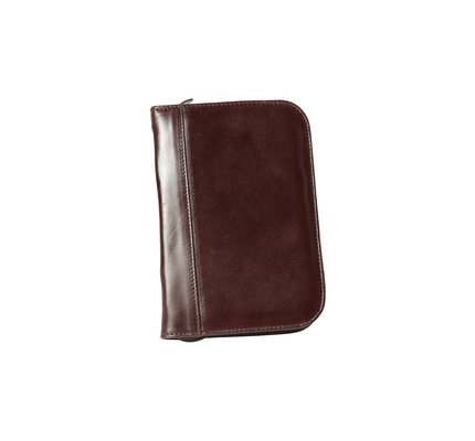 Aston Leather Zippered 10 Slot Pen Case Brown