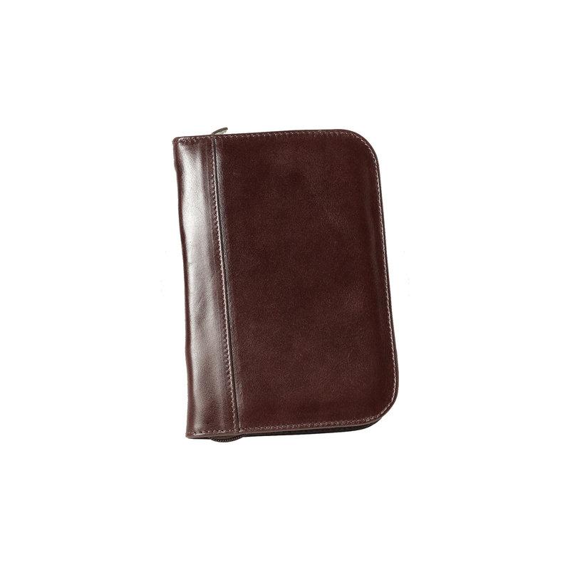 Aston Aston Leather Zippered 10 Slot Pen Case Brown