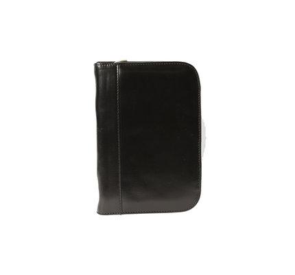 Aston Leather Zippered 10 Slot Pen Case Black