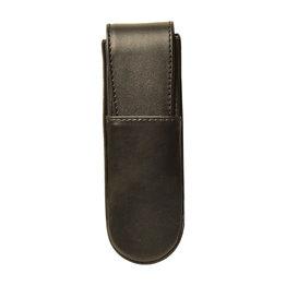 Aston Leather Hardoval Double Pen Case Black