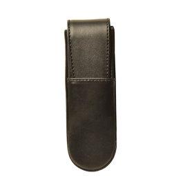 Aston Aston Leather Hardoval Double Pen Case Black