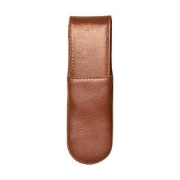 Aston Leather Hardoval Double Pen Case Cognac