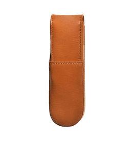 Aston Aston Leather Hardoval Double Pen Case Tan