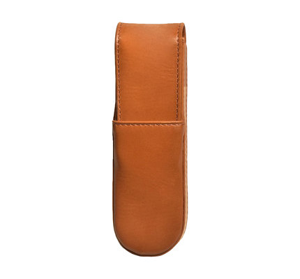 Aston Aston Leather Hardoval Double Pen Case Tan