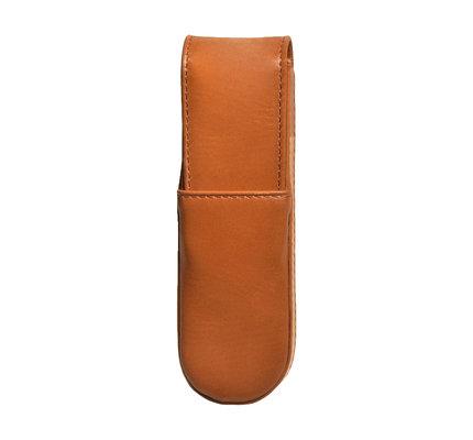 Aston Leather Hardoval Double Pen Case Tan