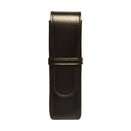 Aston Aston Leather Hardsquare Double Pen Case Black