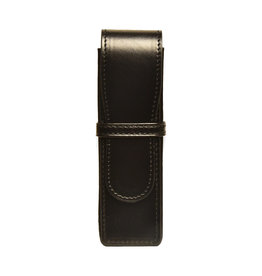 Aston Aston Leather Hardsquare Double Pen Case Black