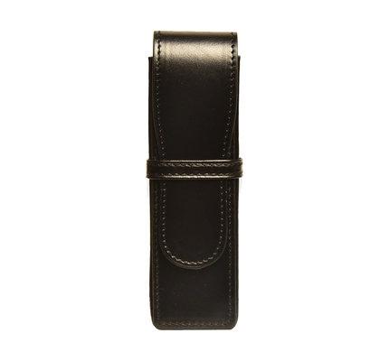 Aston Leather Hardsquare Double Pen Case Black