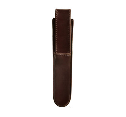 Aston Aston Leather Hardoval Single Pen Case Brown