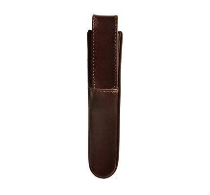 Aston Aston Leather Hardoval Single Pen Case Brown
