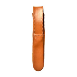 Aston Aston Leather Hardoval Single Pen Case Tan