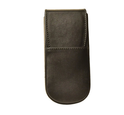 Aston Leather Hardoval Triple Pen Case Black
