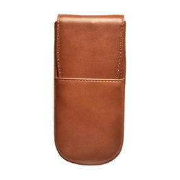 Aston Aston Leather Hardoval Triple Pen Case Cognac