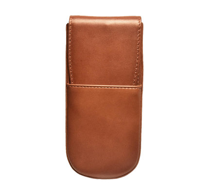 Aston Leather Hardoval Triple Pen Case Cognac