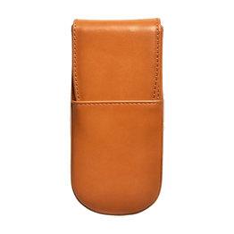 Aston Leather Hardoval Triple Pen Case Tan