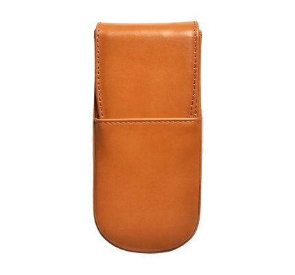Aston Aston Leather Hardoval Triple Pen Case Tan