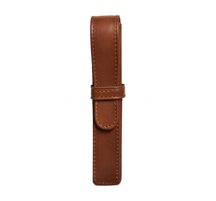 Aston Aston Leather Hardsquare Single Pen Case Cognac