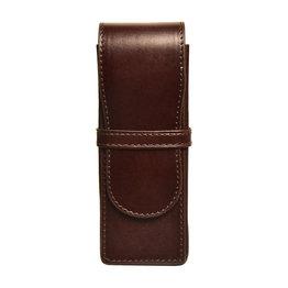 Aston Leather Hardsquare Triple Pen Case Brown