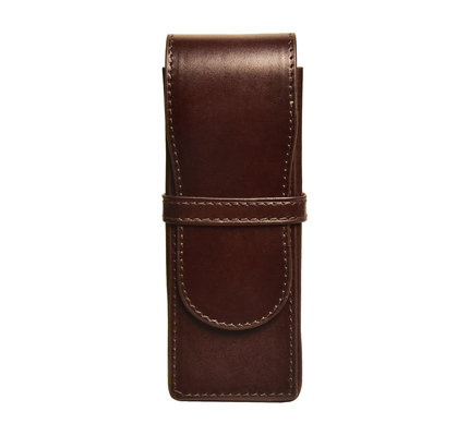 Aston Aston Leather Hardsquare Triple Pen Case Brown