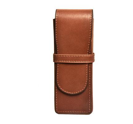 Aston Leather Hardsquare Triple Pen Case Cognac