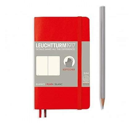Leuchtturm1917 Leuchtturm1917 Pocket Softcover Notebook (A6) Red Plain
