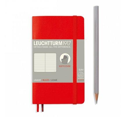 Leuchtturm1917 Leuchtturm1917 Pocket Softcover Notebook (A6) Red Ruled