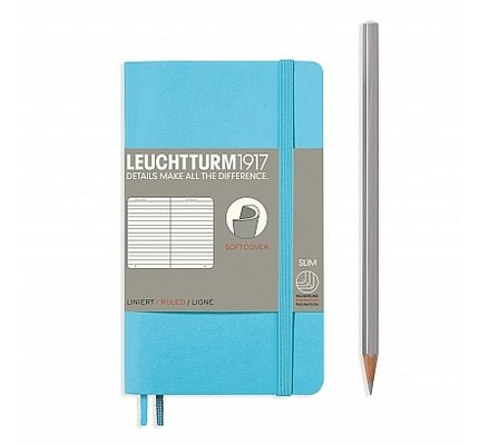 Leuchtturm1917 Leuchtturm1917 Pocket Softcover Notebook (A6) Ice Blue Plain